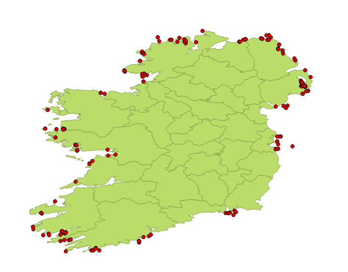 Figure 3. Seasearch Ireland records for the Common dragonet up to June 2014.