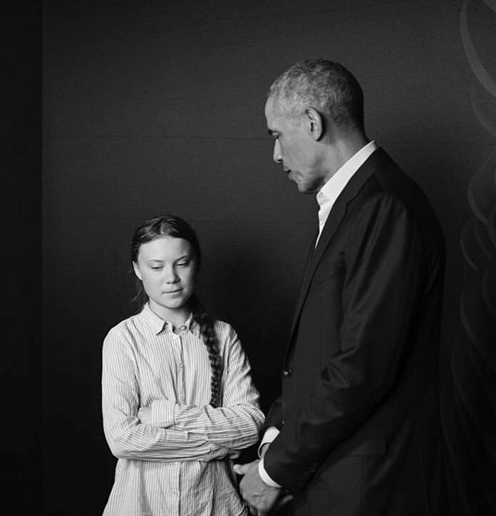 Climate activist Greta Thunberg and former US president Barack Obama meeting. (Photo courtesy of MAX MODÉN https://www.maxmoden.com/)