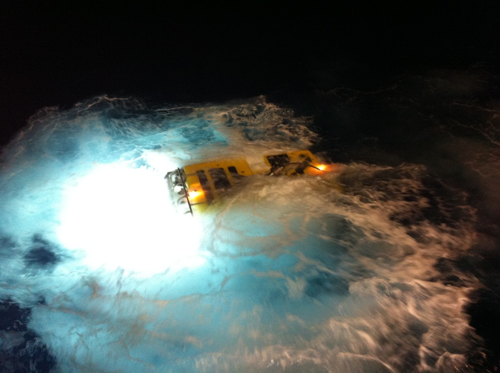 ROV submersible Holland 1 returns after a night dive (Photo courtesy of Jeanne Gallagher)