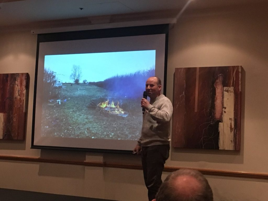 Brian Laney discusses with the audience all the excellent herpetofauna work being done in Northamptonshire.