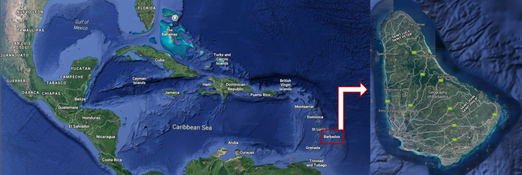 Location of Barbados in the Caribbean, taken from Google Maps